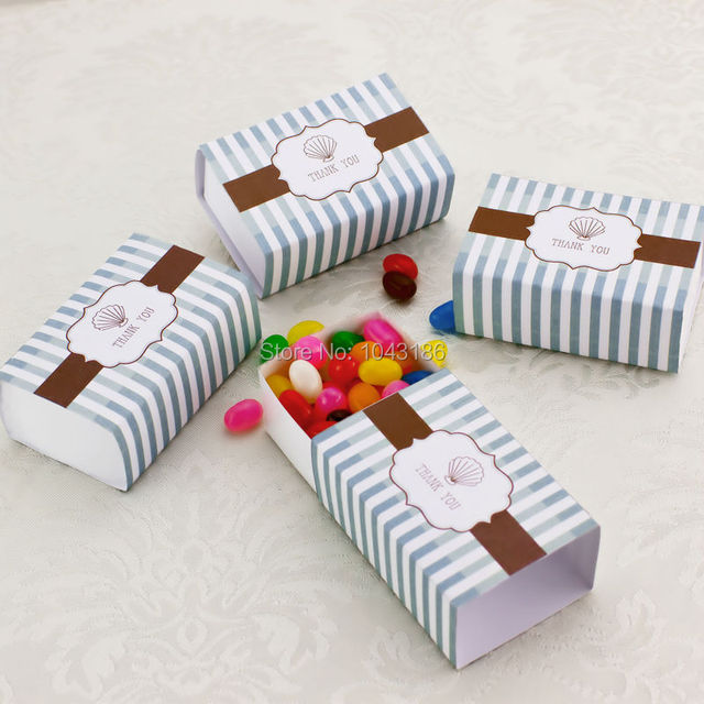 Free Shipping 100pcslot Newest Thank You Favor Box Beach Wedding