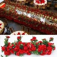 2 шт./лот 4 м x 35 см Горячий красный искусственный цветок полосы проход цветы дорога ведет цветок этап Свадебные украшения