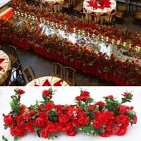 2pcs/lot 4M x 35cm hot red artificial flower strip Aisle Flowers Road Leads flower Stage Wedding Decoration