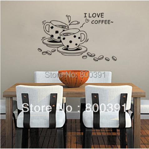 JM8268 size50*70CM Free shipping Removable Vinyl Wall Stickers Love coffee Home Decoration Wall Decals dinner room wall decor