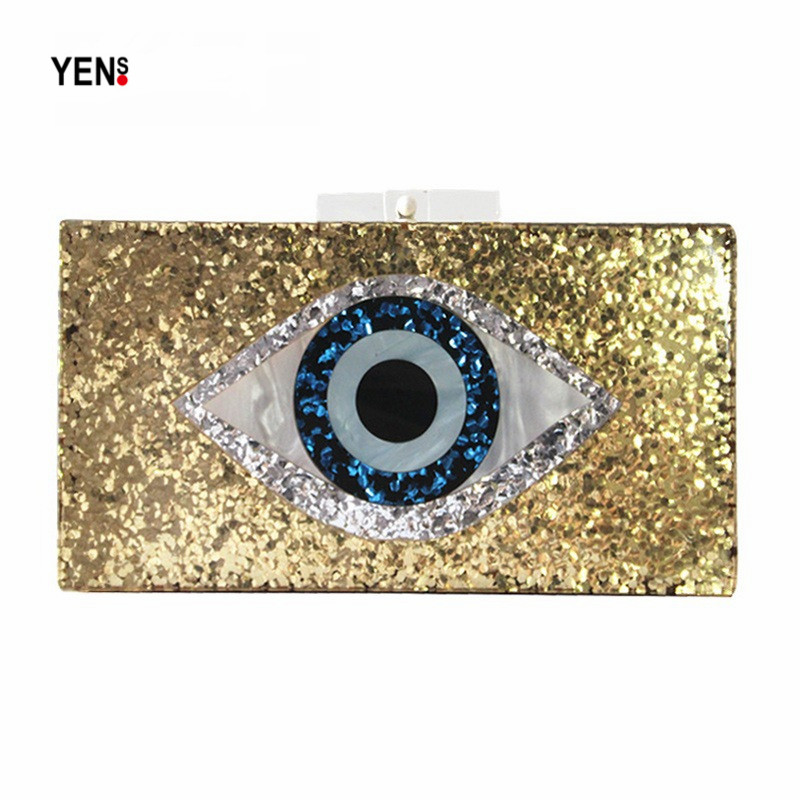 Yens Clutch Prom-Handbag Eye-Evening-Bag Patchwork Elegant Women Fashion Cartoon Luxury