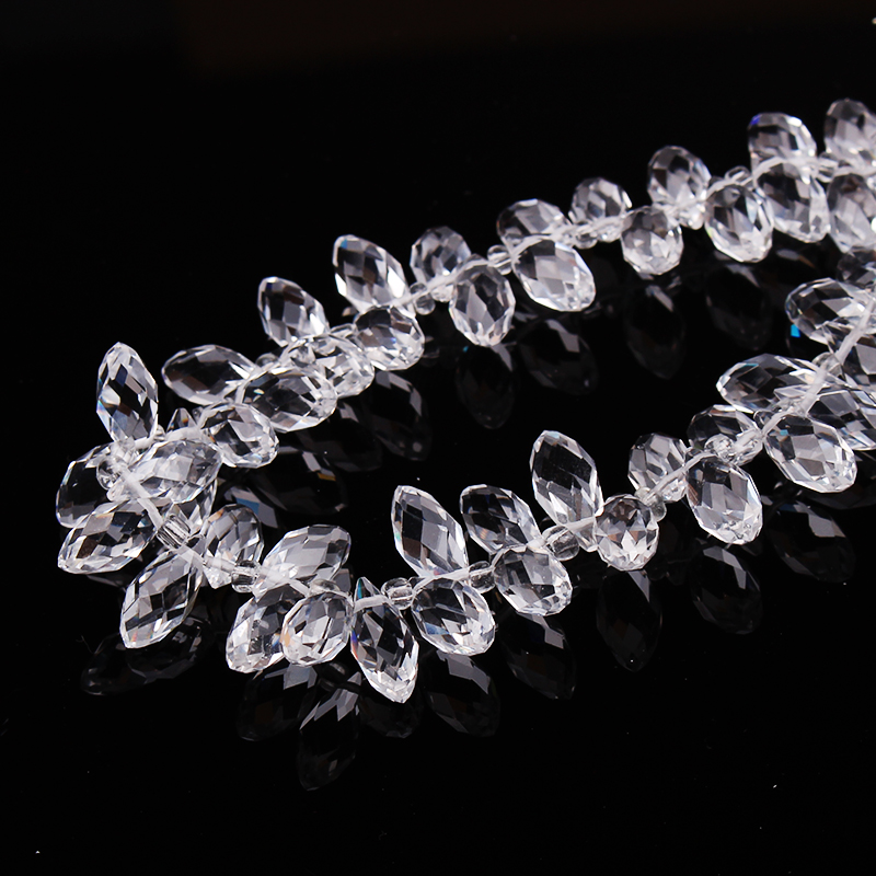 12x8MM 100X Teardrop Faceted Crystal Glass Loose Spacer Beads Craft Jewelry