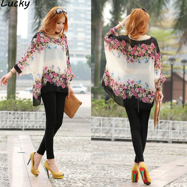 b885127b208 Bohemian Style Women Oversized Batwing Dolman Sleeve Floral Chiffon Shirt  Tops Blouse Loose Plus Size Robe Blusas Clothing