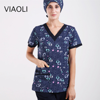 Blue V neck printed surgical gown medical suit, summer breathable cotton nurse scrub uniform ,top and pants