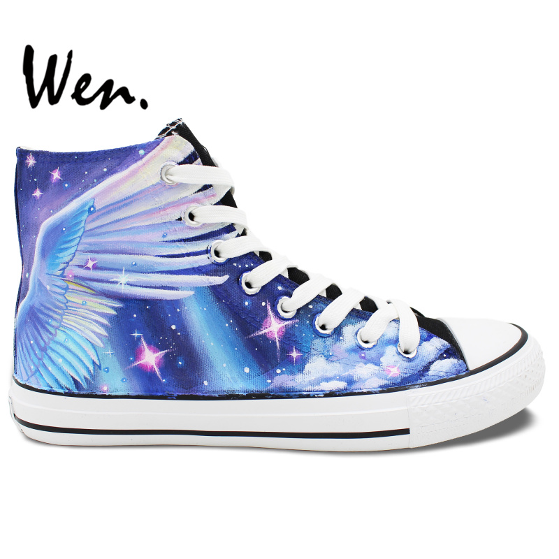 Wen Customized Design The Western Myth Noble Unicorn Hand Painted Skateboard Canvas Shoes High Top Men Women's Christmas Gifts wen customed hand painted shoes canvas the beatles high top women men s sneakers black daily trip shoes special christmas gifts