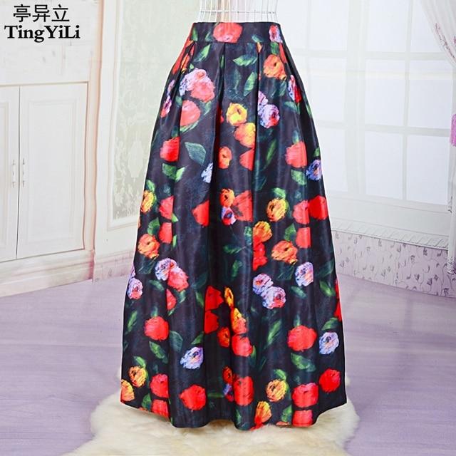 TingYiLi Women Long Skirts Vintage Print Ball Gown Satin Maxi Skirt ...