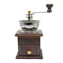 Freeshipping molinillo de café para el hogar de bronce antiguo molino de café de madera Retro con movimiento Procelain molinillo de granos licuadora