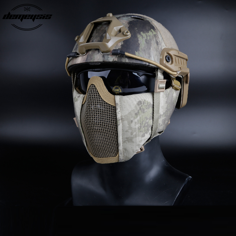 Tactical Half Face Metal Steel Net Mesh Mask Hunting Protective Guard Mask Airsoft Ear Protection Half Face Mask