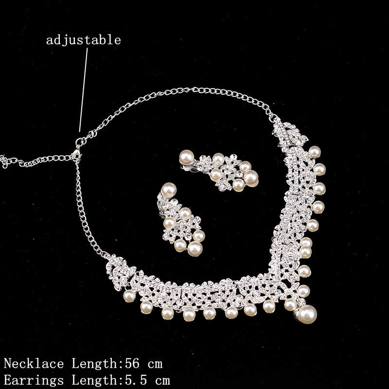 Bridal Pearl Necklace With Earrings Clip Wedding Jewelry Set Rhinestone Necklace Women Fashion Accessories Set Pearl Earrings