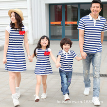 2016 Family Matching Outfits Summer Family Matching Clothing Mother Daughter Navy White Stripe Dress Father And Son Top Tee