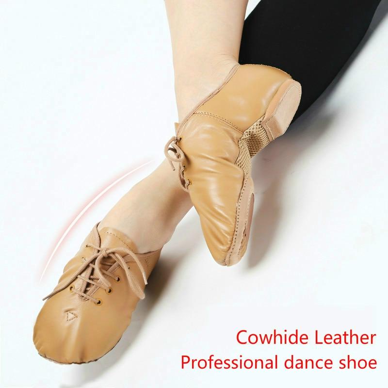 2018 kasut tarian kanak-kanak berkualiti tinggi kasut kulit sapi bernafas Split Sole Jazz Shoe Ballet Dancing Sneakers For Boys Girls