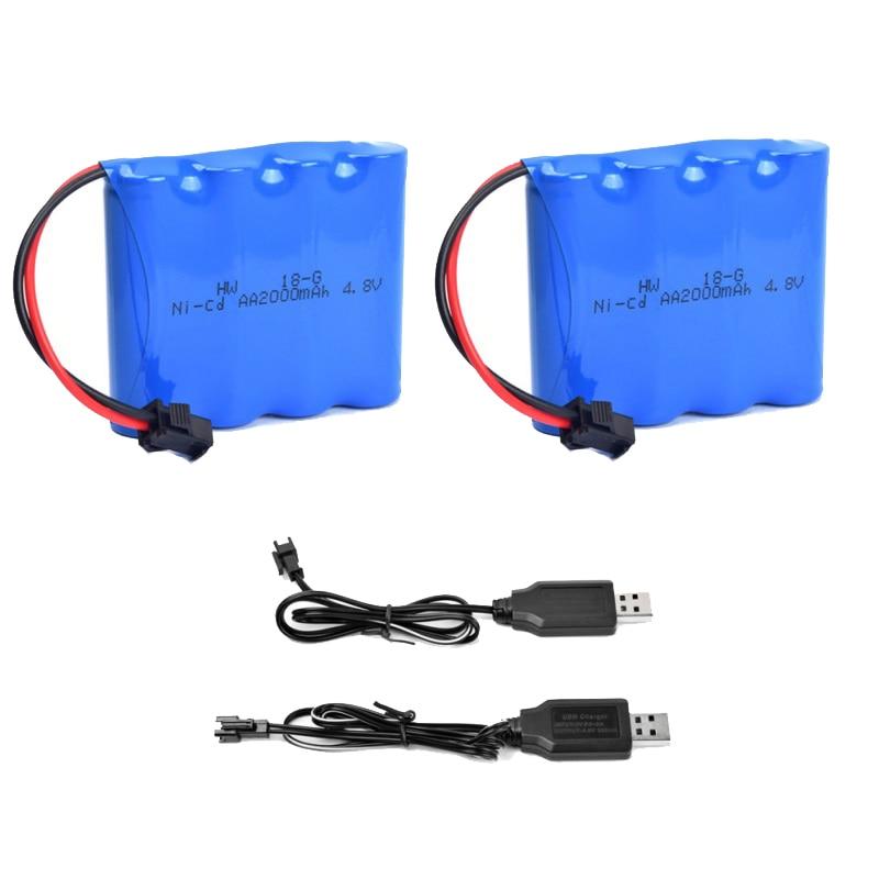 4.8 V Recarregável Bateria 2000 mAh NI-CD 4XAA Bateria Para Aviões RC Barco de Controle Remoto Off-Road Do Veículo carregador de carro + USB