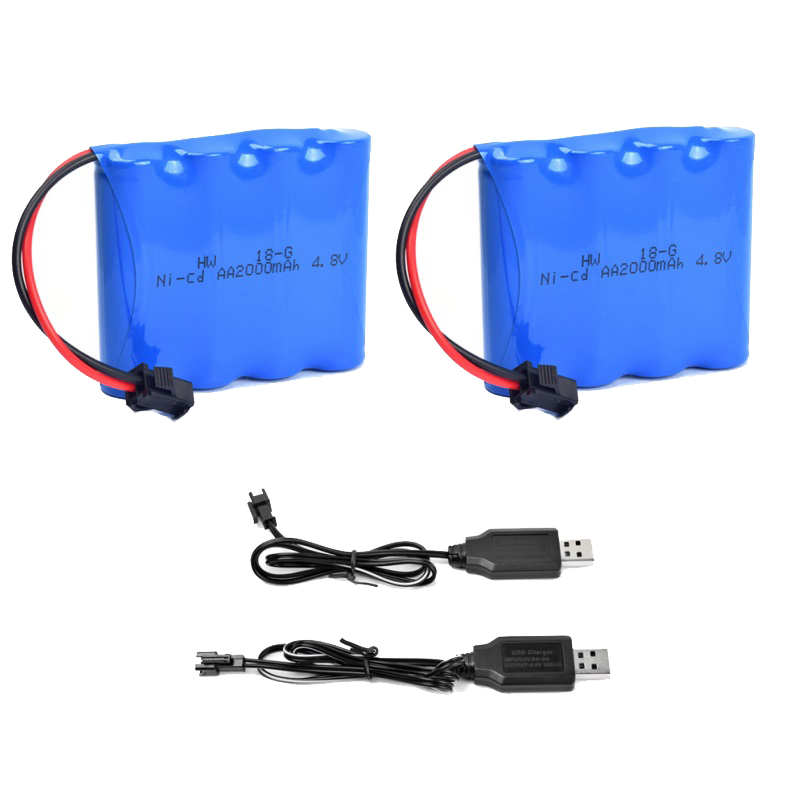 4.8V Rechargeable 4XAA Battery Pack 2000mAh NI-CD Battery For Aircraft RC Boat Remote Control Off-Road Vehicle Car + USB Charger