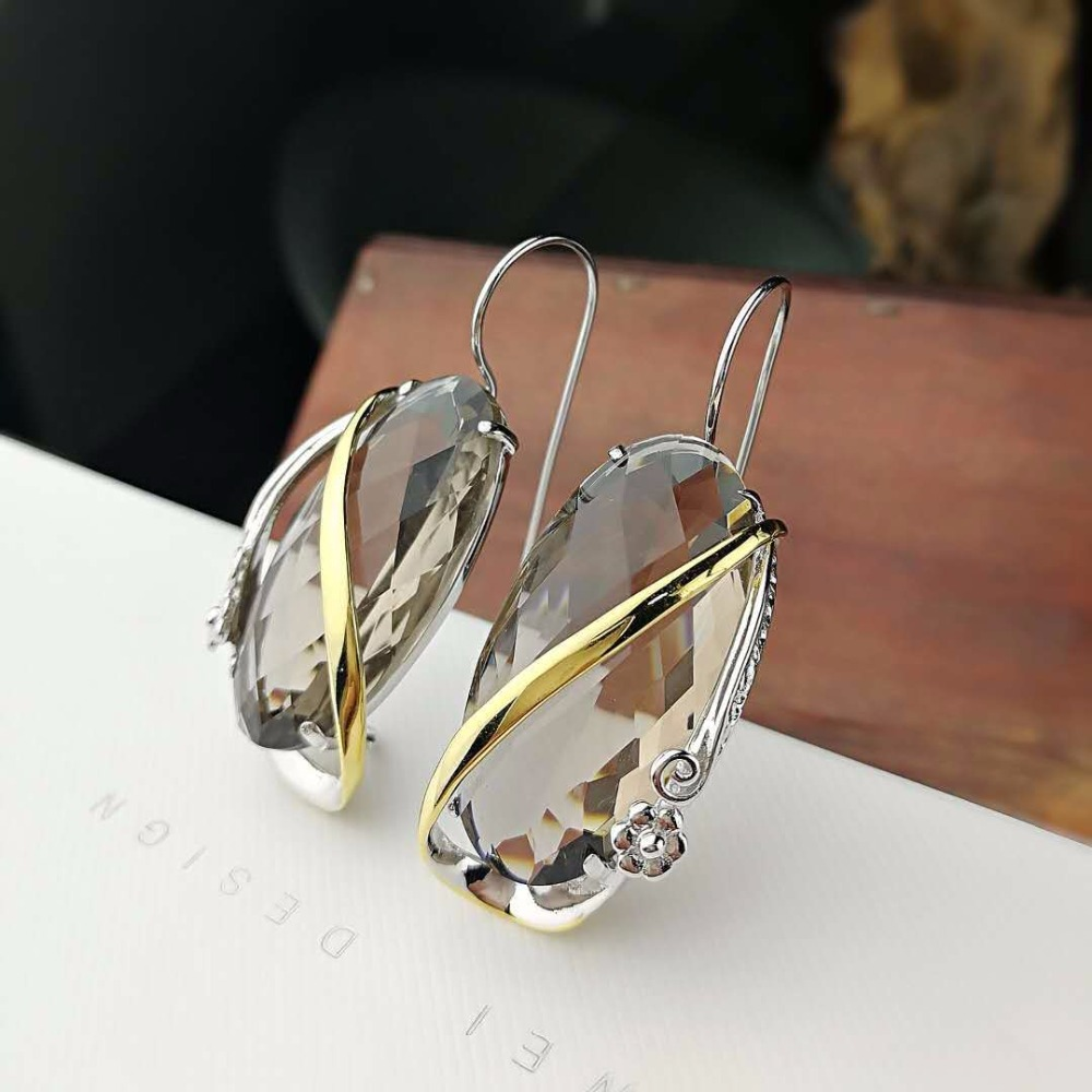 L P New Fashion Real Silver Smoky Quartz Earrings for Lady Original Design Elegance 925 Sterling