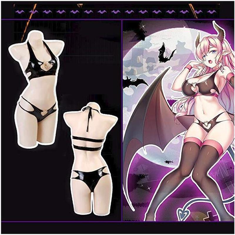 Women Anime  Bikini Swimsuit Two Piece Devil Costumes Sexy Leather Lingerie Outfit Best halloween Bodysuit for Girls Instagram 1