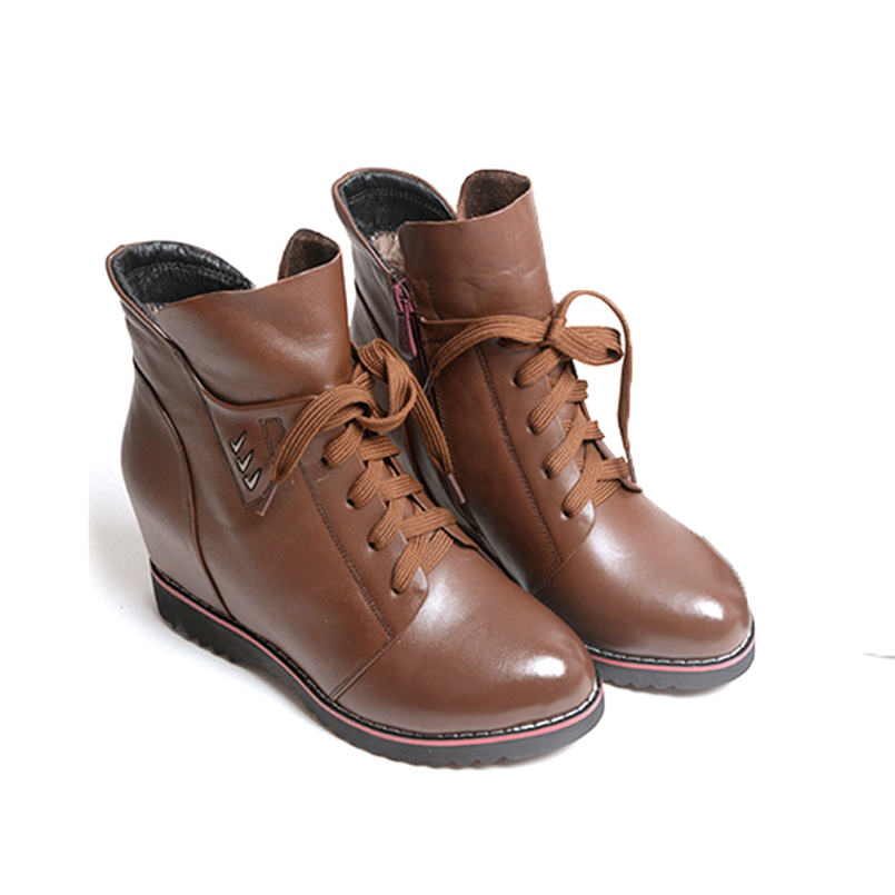 Fashion Women Winter Boots Genuine Leather Ankle Boot Lace Up Shoes Woman Round Toe Height Increasing Wedge Shoe 5046 women boots plus size 35 43 genuine leather autumn winter ankle boots black wine red shoes woman brand fashion motorcycle boot
