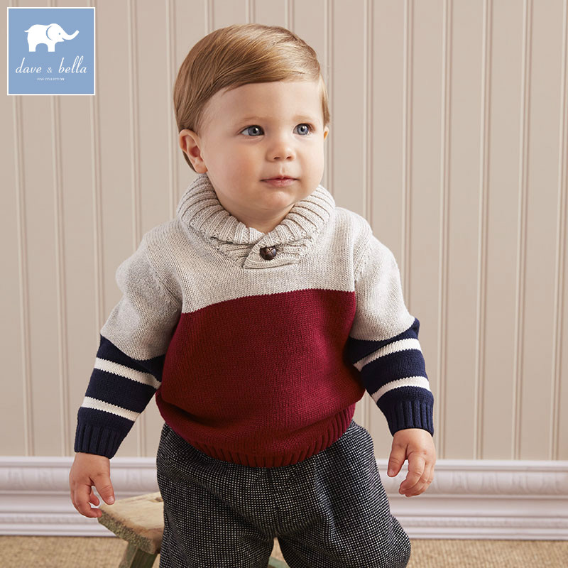 DB5396 dave bella autumn infant baby boys cotton pullover sweater wine clothes toddler children knitted Sweater db2315 dave bella autumn winter baby boy turtleneck sweater infant clothes toddle cotton wool sweater boys plum sweaters