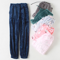 Women 's Sleep Pants Winter Flannel pants Home Sleep Pants Women Sleep Bottoms Loose trousers Ladies pants