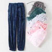 Women 's Sleep Pants Winter Flannel pants Home Sleep Pants Women Sleep Bottoms Loose trousers Ladies pants