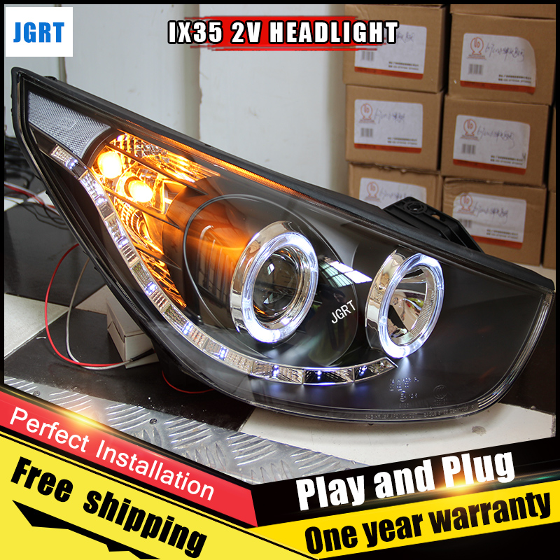 2PCS Car Style LED headlights for Hyundai ix35 2010-2013 for ix35 head lamp LED DRL Lens Double Beam H7 HID Xenon bi xenon lens hireno headlamp for 2013 2015 nissan tiida headlight assembly led drl angel lens double beam hid xenon 2pcs