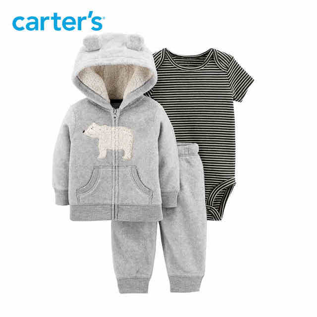 91145266f Carter s 3 Pcs Jacket Set bear ears hooded coat rompers pants baby ...