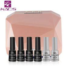 KADS Nail Art Manicure Tools 36W UV Lamp & 4pcs Nail Gel polish & Top Coat Base Coat For Nail Art