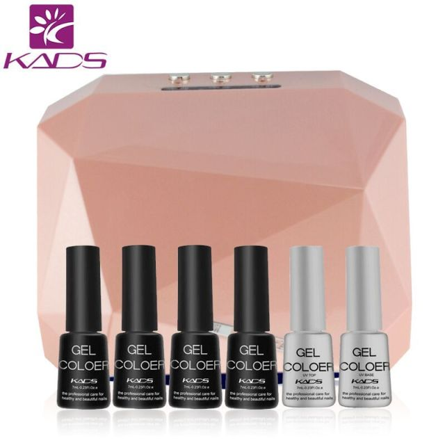 KADS Nail Art Manicure Tools 36W UV Lamp & 4pcs Nail Gel polish & Top Coat Base Coat For Nail Art