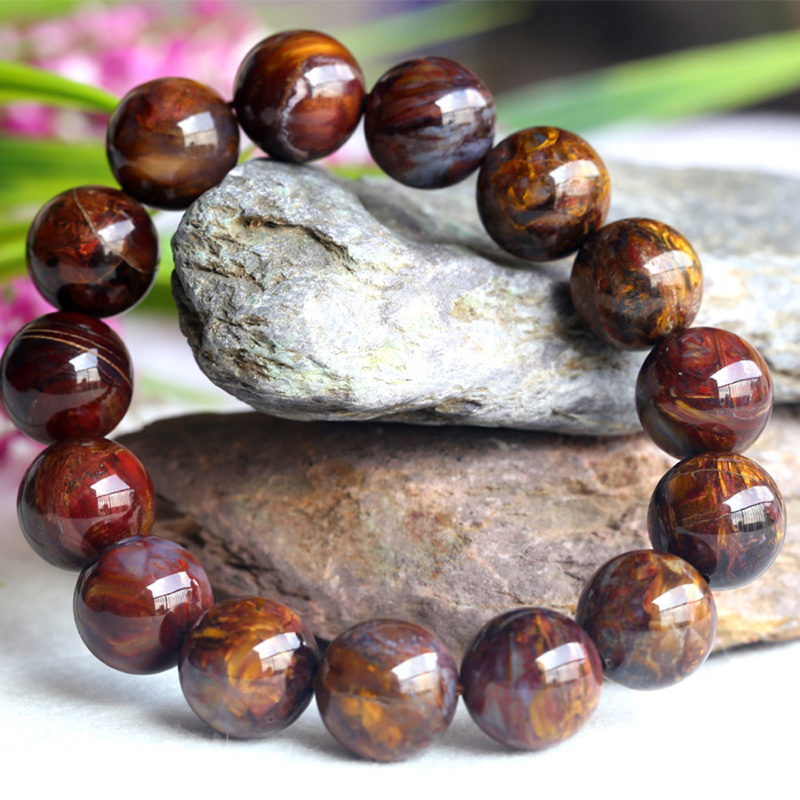 Natural Genuine Brown Gold Pietersite Stretch Men's Stretch Finish Bracelet Round Big beads 14mm 04110 недорого