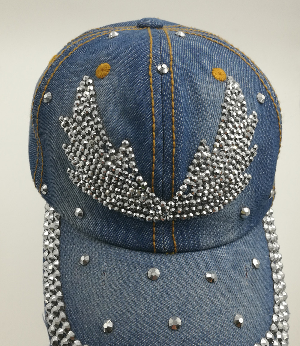 women black blue color denim jeans cloth made Artificial stones bling bling  Angel wings baseball caps-in Baseball Caps from Apparel Accessories on ... fa1c176c673f