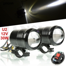 лучшая цена Motorcycle LED Headlight Driving Fog Lamp 30W U2 Waterproof Fog Light Spotlight + Switch Fit Motorcycle SUV Light Accessories