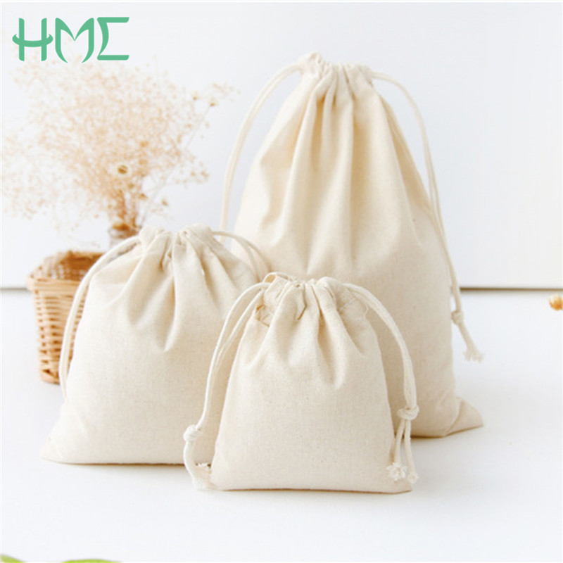 Us 1 04 20 Off 10x12 14x16 19x24 25x32cm Solid Color Pure Cotton Canvas Gift Bags Kids Birthday Party Candy Drawstring Pouch Tea Bag In