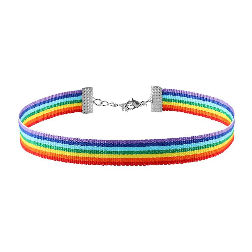 Men Women Gay Pride Rainbow Choker Necklace Gay and Pride Lace Chocker Ribbon Collar with Pendant Jewelry