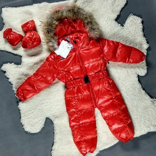 Ребенка Детский Зимний Комбинезон Зимняя Куртка Для Девочек 3 М-24 М Белый Розовый Черный Синий Красный Вниз Большой Меховой Пальто теплый Новорожденных Snowsuit Детские snowsuit