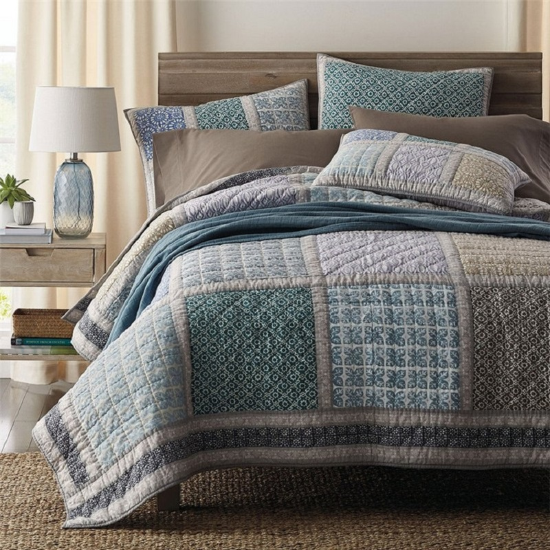 CHAUSUB Cotton Bedspread Quilt Set 3PCS Coverlets Handmade Patchwork Quilted American Quilts Bed Cover King Size Thick Blanket
