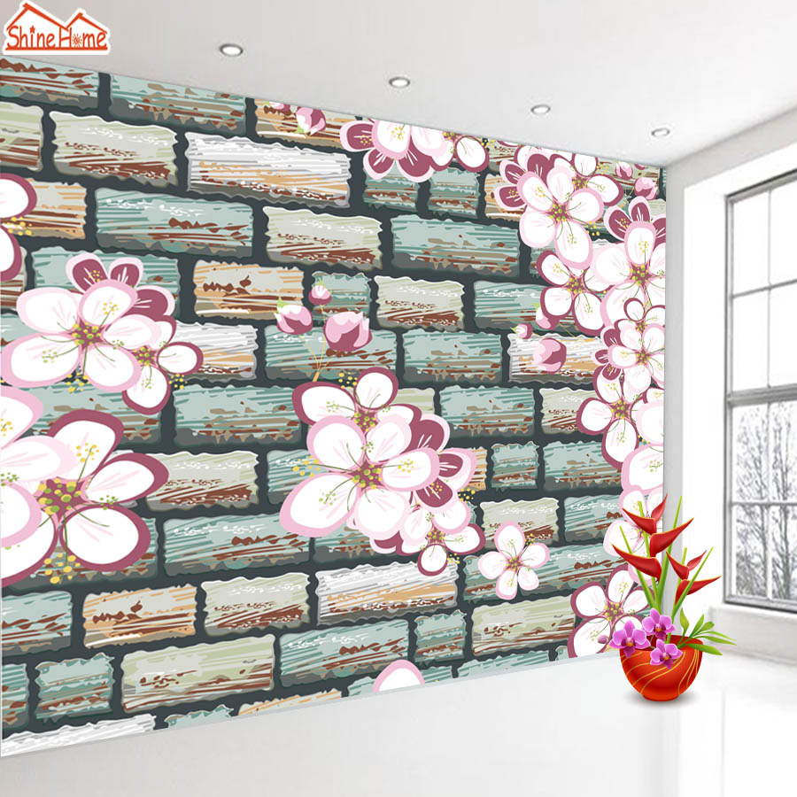 ShineHome Flower Embossed Brick Wallpaper Roll For Walls