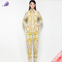 Fashion Runway Suit Set New 2018 Women's Designer Turn Down Collar Button Vintage Print Blouse and Pants Set Suit Free Express