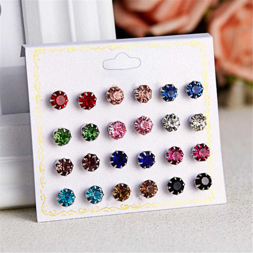 12 Pair/Set Fashion Mixing Crystal Zircon Stud Earrings Shiny Lots Of Earrings Jewelry For Women Girls Wholesale Jewelry Gift