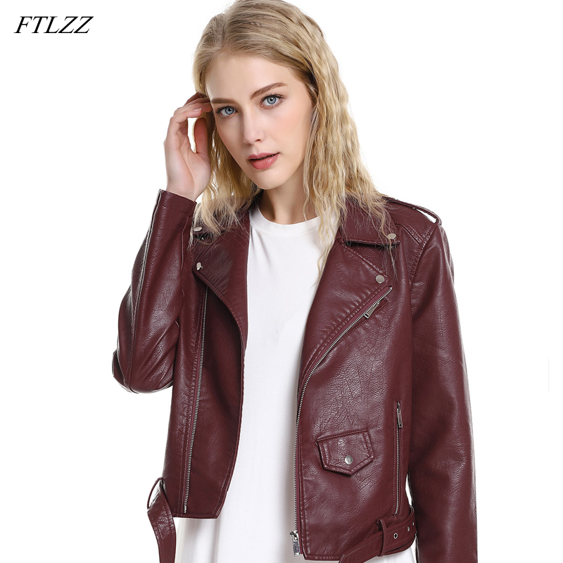 FTLZZ New Spring Autumn Women Short Washed Pu   Leather   Jacket Streetwear Zipper Belt Motorcycle Basic Jackets Black Red Jacket