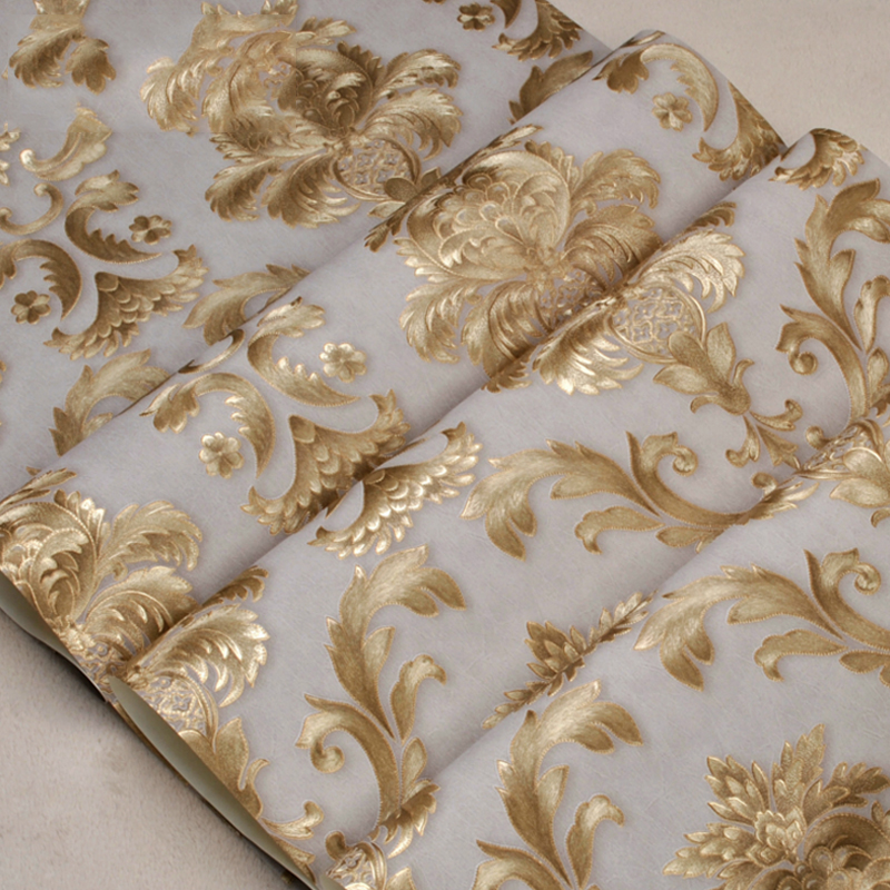 Luxury Glitter Gold Floral Damask Wallpaper Textured Yellow Vinyl Large Damask Stripe Wall Paper For Home Live Room Bedroom Roll цена