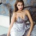 2017 novos das mulheres sexy sleepwear faux seda roupões roupão camisola de renda preta definir tentação vestido