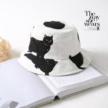 Printed Black cat Bucket Hat Men Women Hip Hop Unisex Fisherman Hats panama Cotton Street Fishing Cap Sun hat 2019