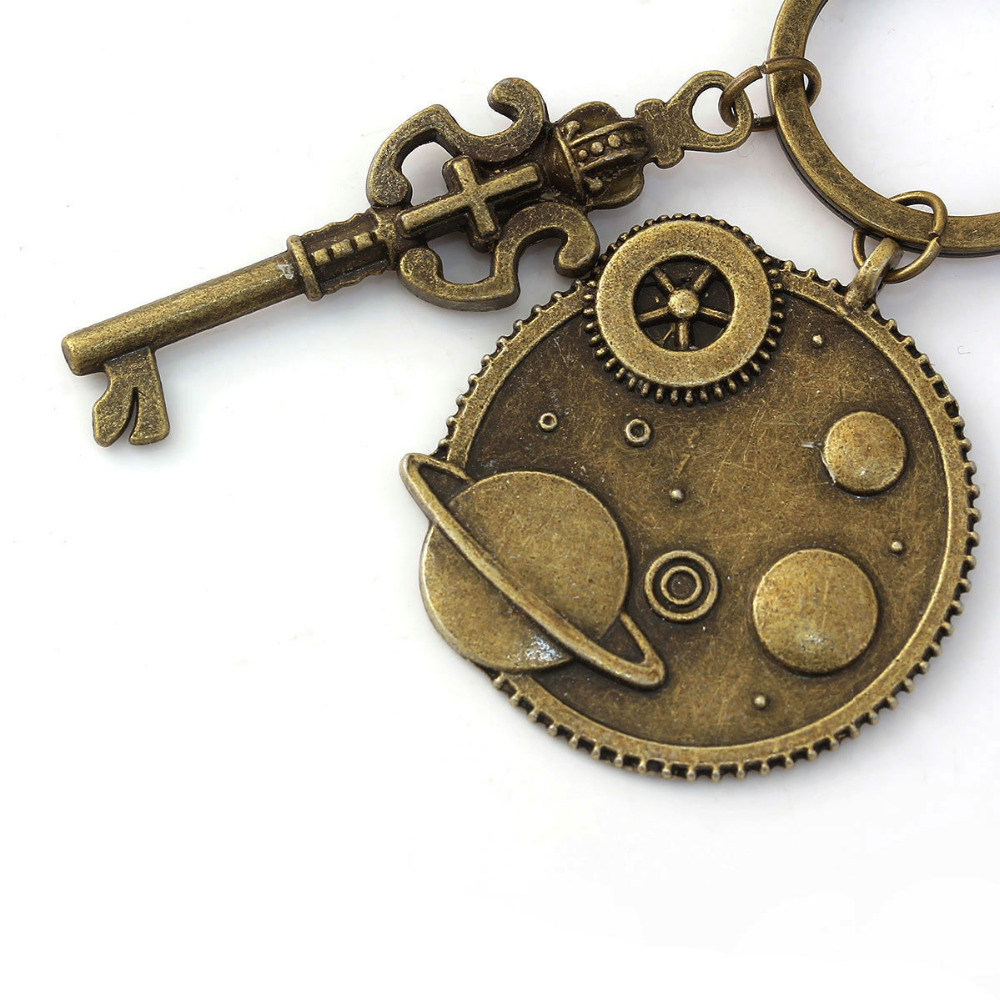 DoreenBeads Steampunk Keychain & Keyring Key Chains Gear Antique Bronze Color Crown Key Carved 7.5cm(3