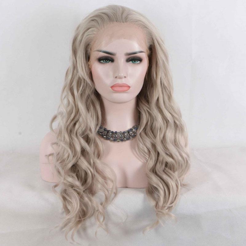 Bombshell Platinum Grey Bouncy Curly Synthetic Hair Lace Front Wig Glueless Heat Resistant Fiber Natural Hairline
