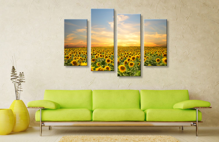 Framed Modern Sun Flower Oil Painting Canvas Wall Art Print Decor ...