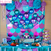Huiran Fish Net Decor Gender Reveal Party Decoration Kids Metal Balloon Birthday Party Decorations Mermaid Banner Party Supplies
