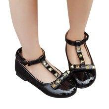 Тонкие туфли с заклепками для девочек; кроссовки на плоской подошве для больших девочек; металлическая детская обувь для детей; обувь принцессы; повседневная обувь для малышей; WJ