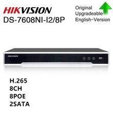 Hikvision оригинальный мобильный телефон 4 к Nvr DS-7608NI-I2/8 P видео Регистраторы 8CH 2 SATA с 8 порт PoE H.265 подключи и играй nvr hikvision для CCTV