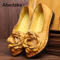 2017 ABEDAKE BRAND ORIGINAL RETRO HANDMADE WOMEN FLATS GENUINE LEATERH CASUAL SHOES COW LEATHER COMFORTABLE FLATS SIZE 35- 40