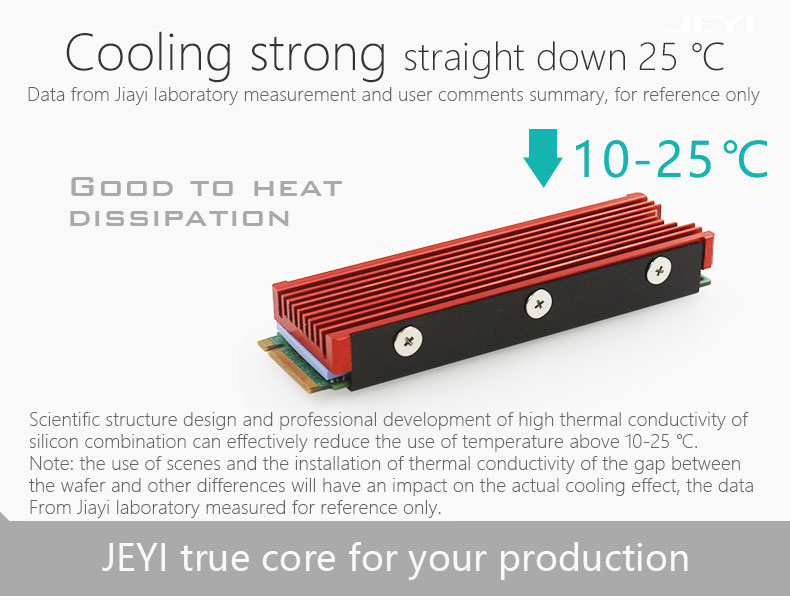 Red JEYI Cool Warship NVME NGFF M.2 Heatsink Aluminum Sheet Thermal Conductivity Silicon Wafer Cooling Warship Nvme Heatsink 2280m.2