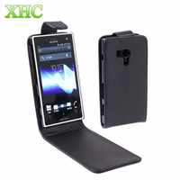 Black Pure Color Vertical Flip Leather Case for Sony Xperia Acro S / LT26W Smart Phone Flip Cover shell for Sony Xperia Acro S